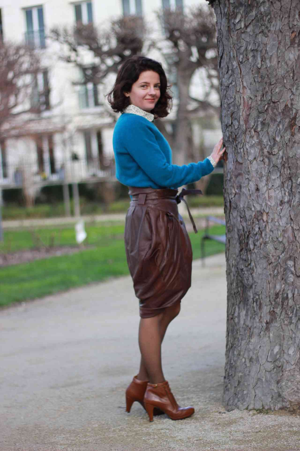 A leather jacket becomes a skirt